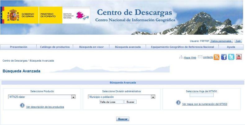 IGN. Centro de descargas. Valle de Losa. MTN25 ráster